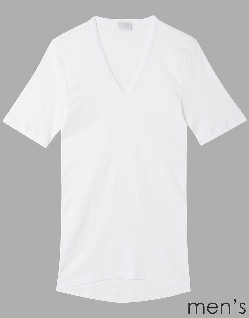 ハンロ COTTON PURE メンズ半袖シャツ MIH684・WH
