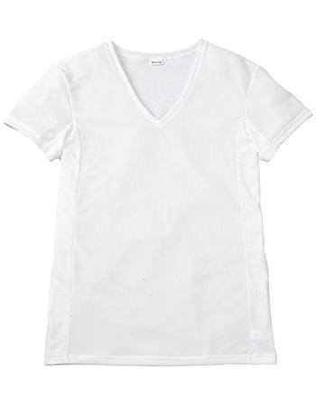 【背中・脇の汗ジミを軽減】 V首半袖シャツ
